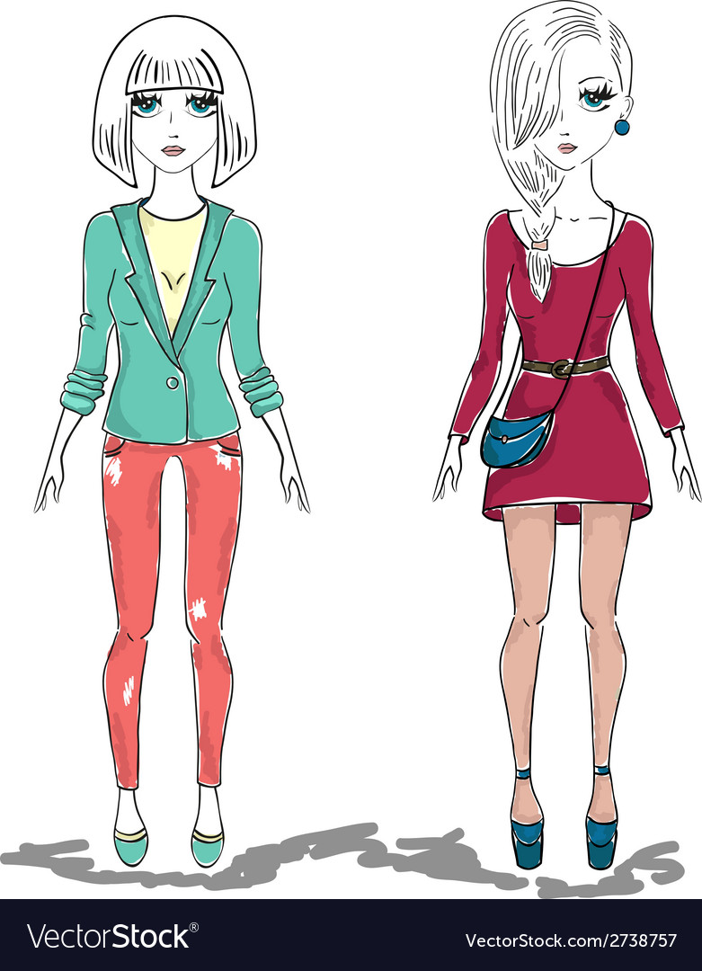 Hand drawn fashion girl woman vector | Price: 1 Credit (USD $1)