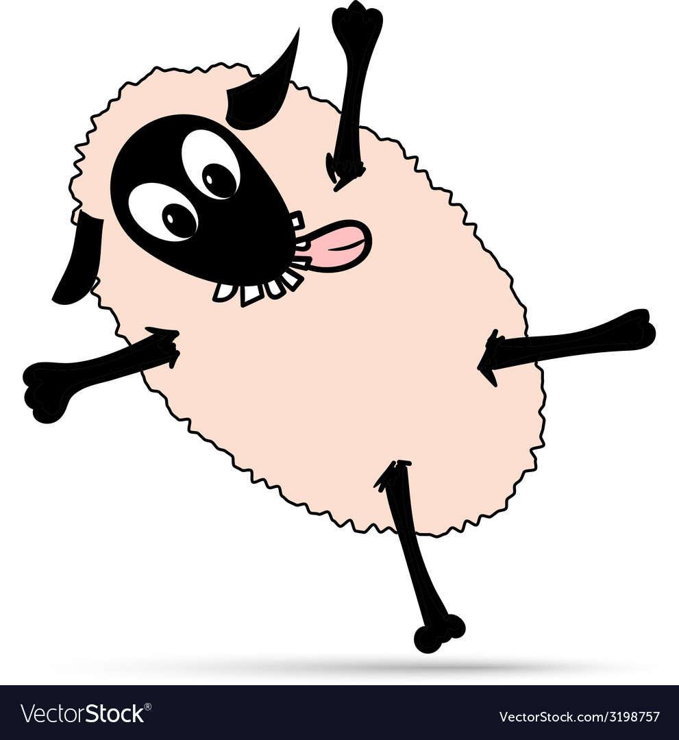 Happy dancing sheep vector | Price: 1 Credit (USD $1)