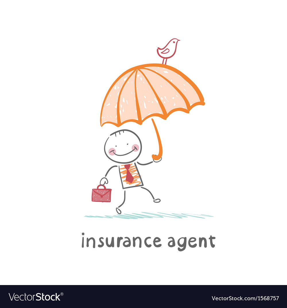 Insurance agent insurance agent with umbrella vector | Price: 1 Credit (USD $1)
