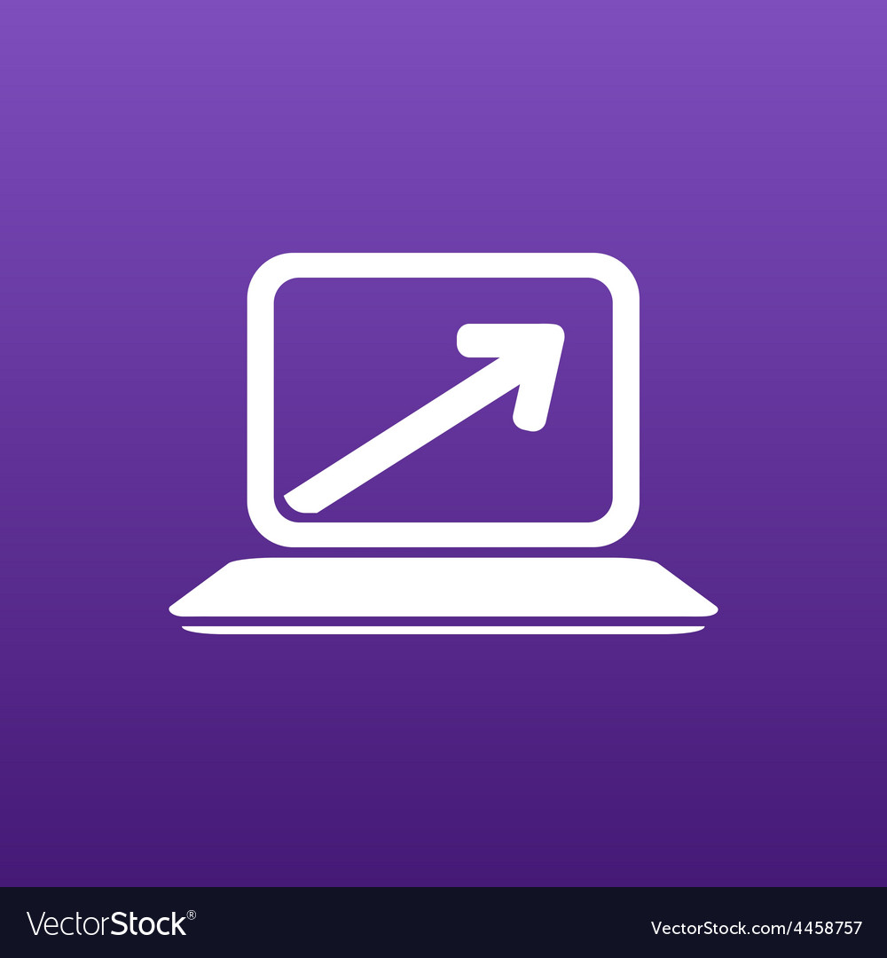 Laptop arrow pointing up from the blank screen vector | Price: 1 Credit (USD $1)