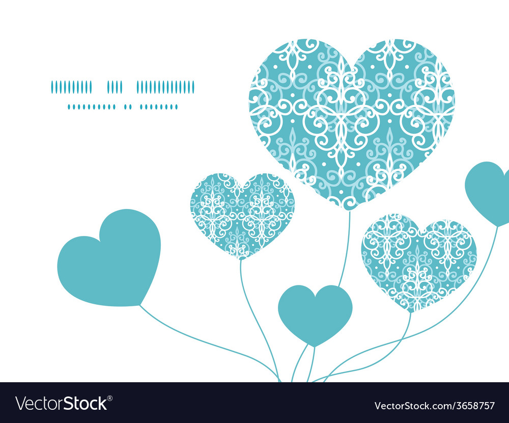 Light blue swirls damask heart symbol frame vector