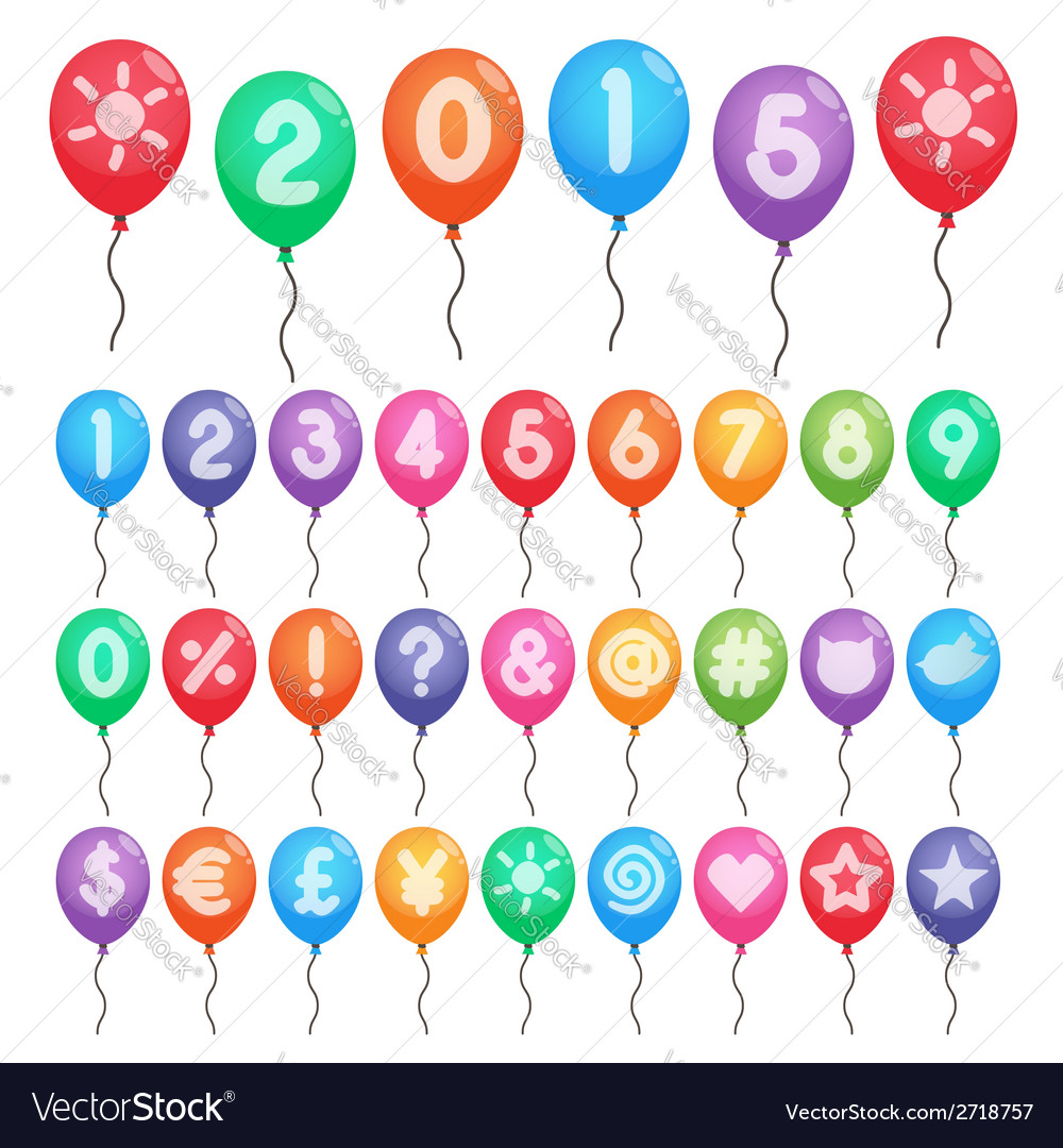 Numbers and symbols balloons vector   Price: 1 Credit (USD $1)