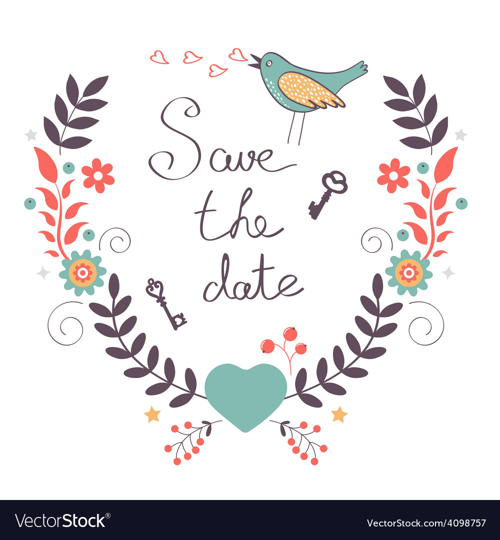 Save the date card vector | Price: 1 Credit (USD $1)