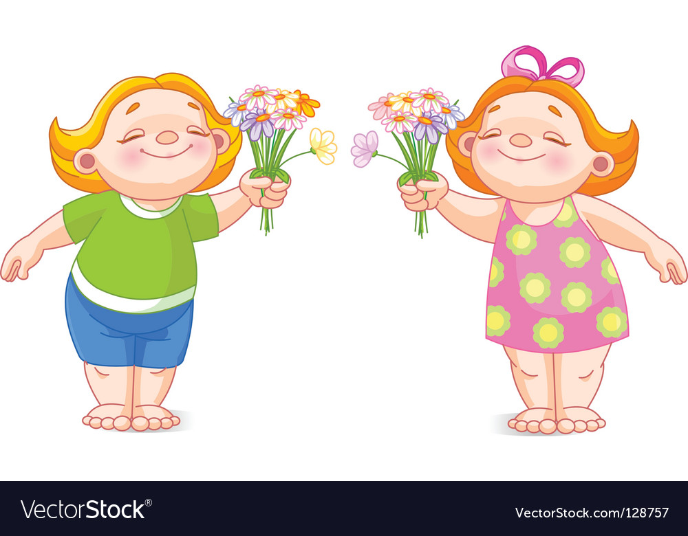 Two babies with bouquets vector | Price: 1 Credit (USD $1)