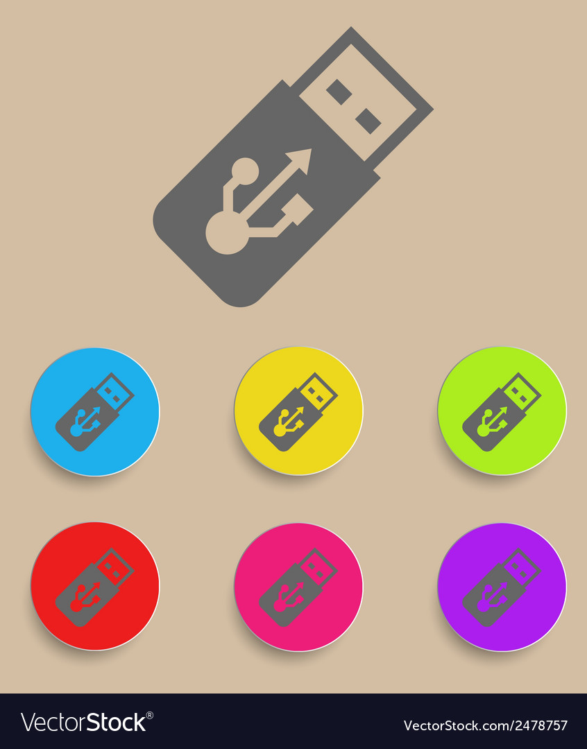 Usb flash drive icon with color variations vector | Price: 1 Credit (USD $1)