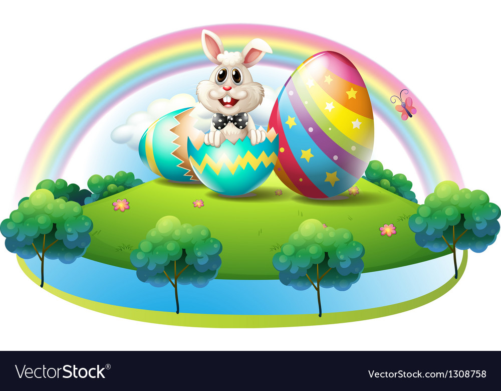 A bunny inside the easter egg vector | Price: 1 Credit (USD $1)