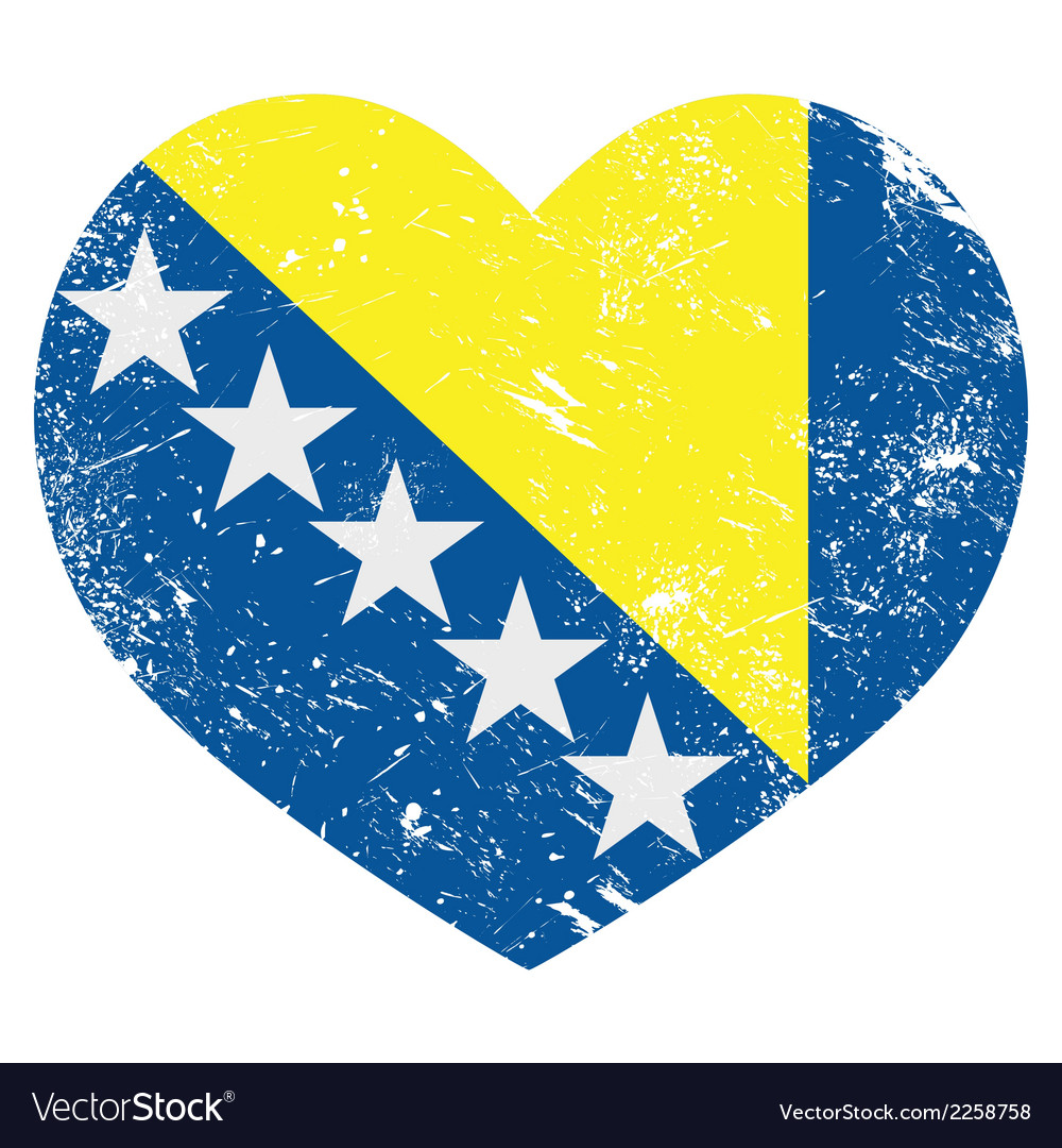 Bosnia and herzegovina retro heart flag vector | Price: 1 Credit (USD $1)