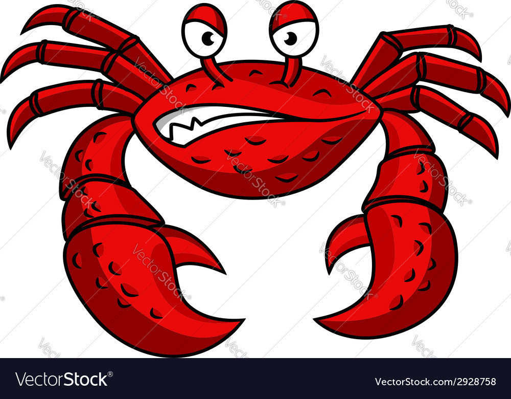 Cartoon red crab character vector | Price: 1 Credit (USD $1)