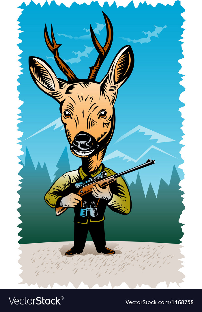 Deer with hunting rifle vector | Price: 1 Credit (USD $1)