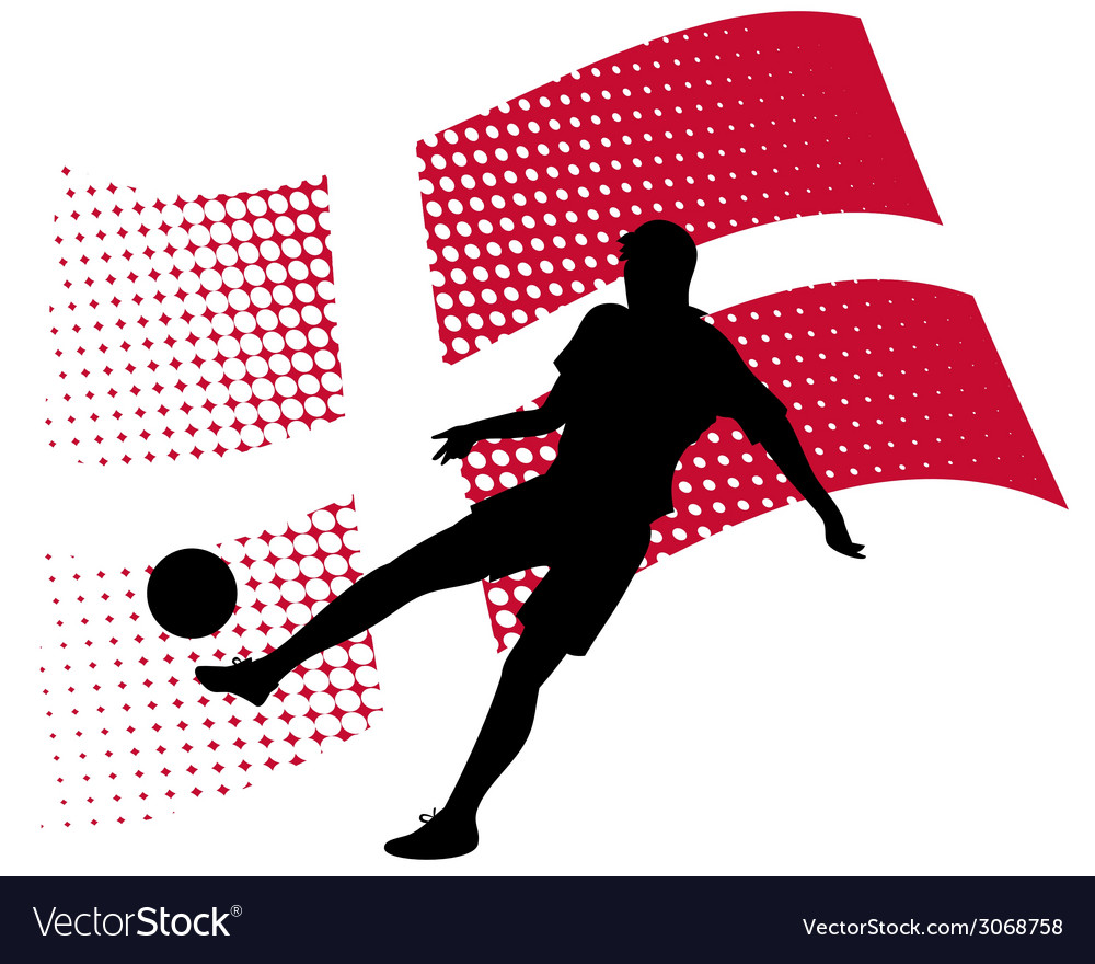 Denmark soccer player against national flag vector | Price: 1 Credit (USD $1)