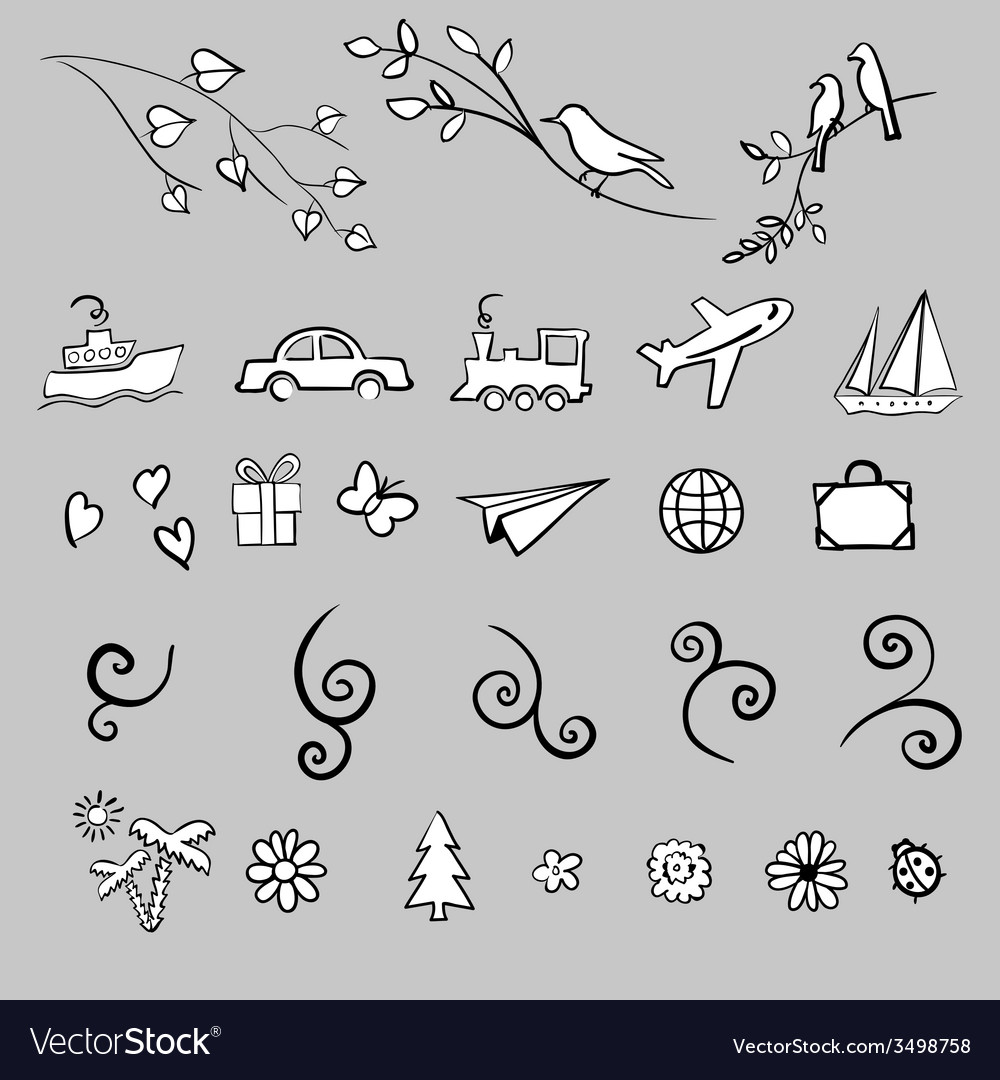 Fun summer spring travel  set icon vector | Price: 1 Credit (USD $1)