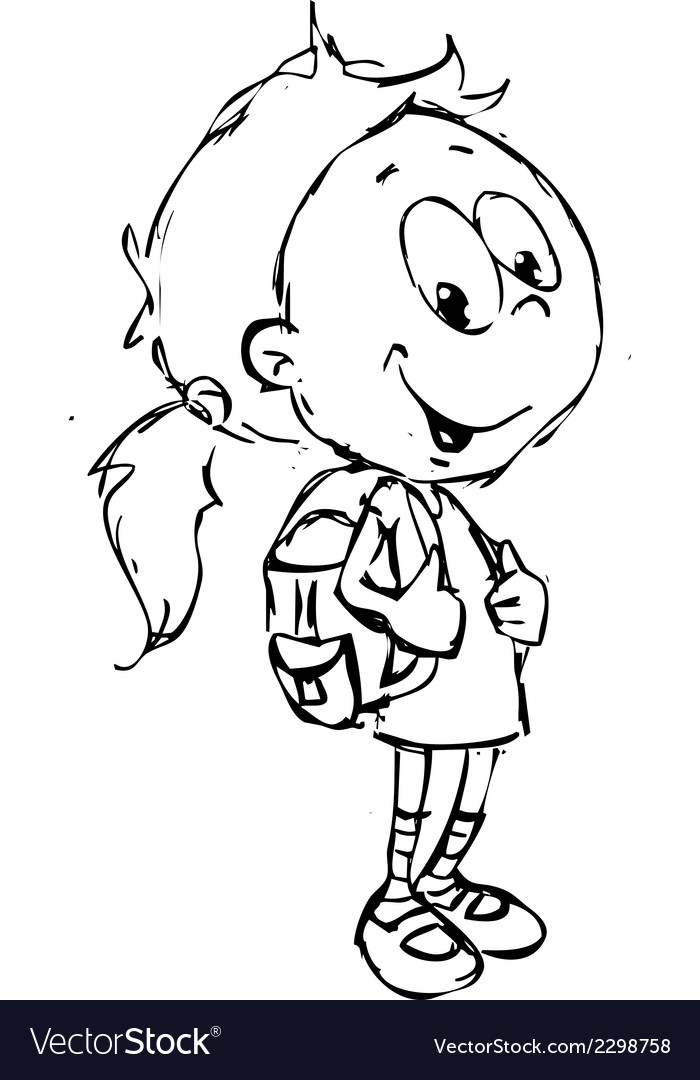 Girl with school bag - vector | Price: 1 Credit (USD $1)