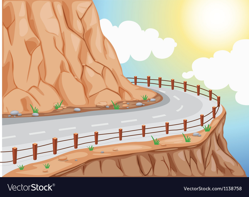 Hill side road vector | Price: 1 Credit (USD $1)