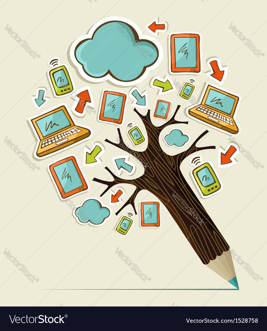 Mobile communication concept tree vector | Price: 1 Credit (USD $1)