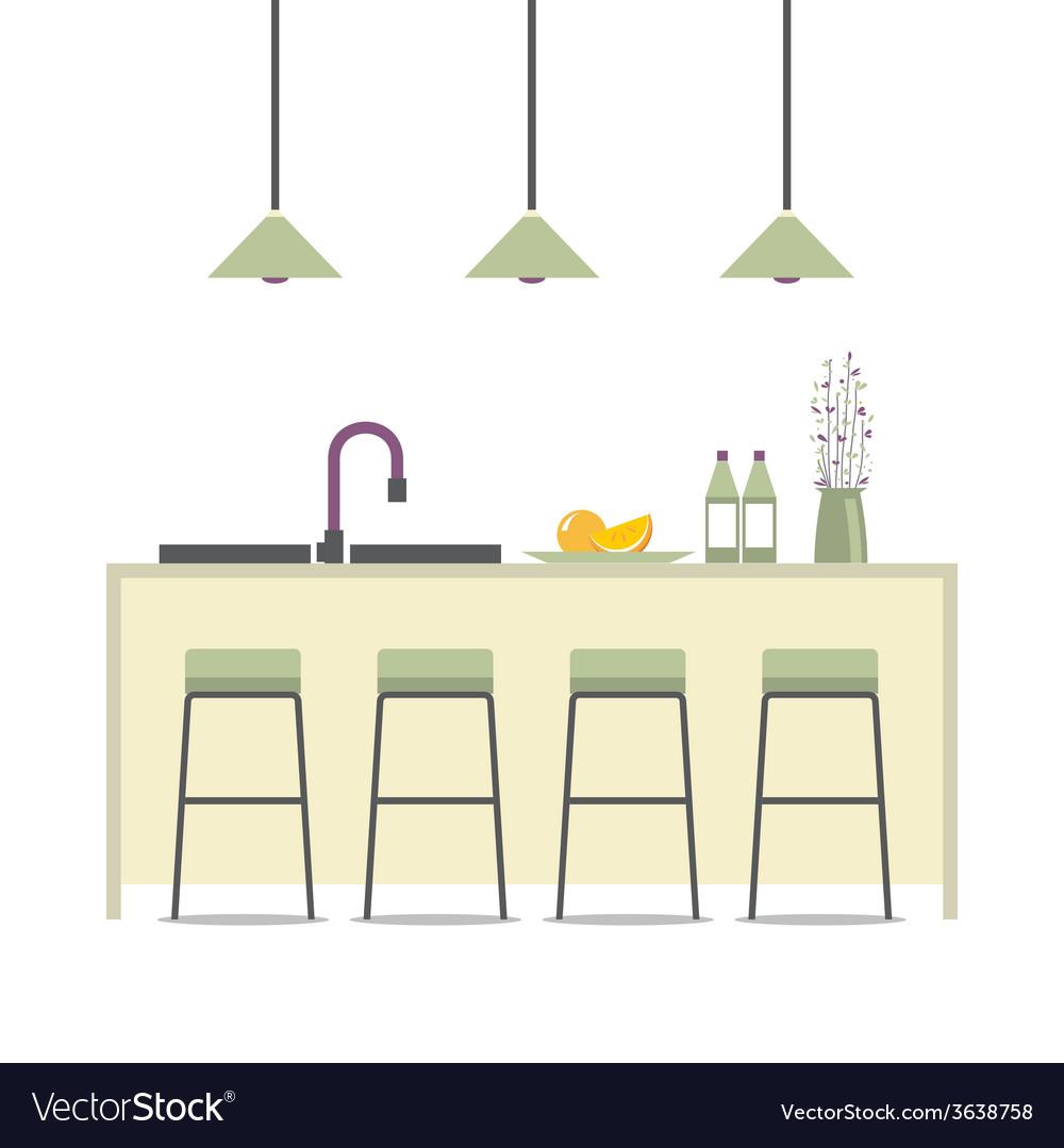 Modern flat design kitchen interior vector | Price: 1 Credit (USD $1)