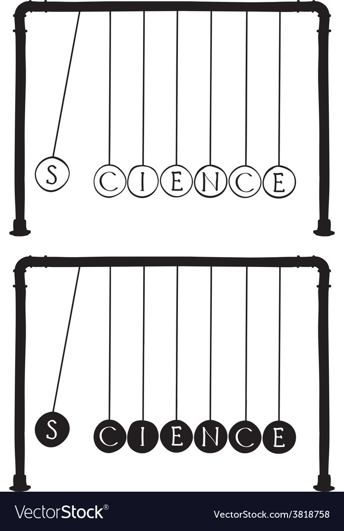 Newtons cradle with letters on balls vector | Price: 1 Credit (USD $1)