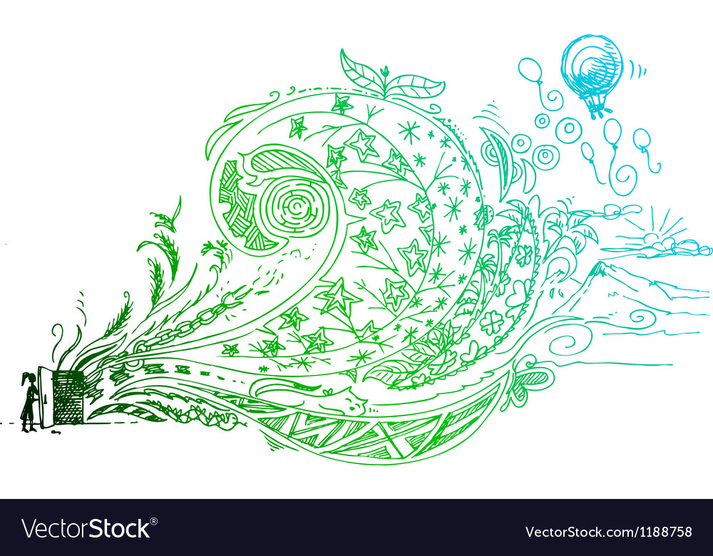 Open door sketched doodle vector | Price: 1 Credit (USD $1)