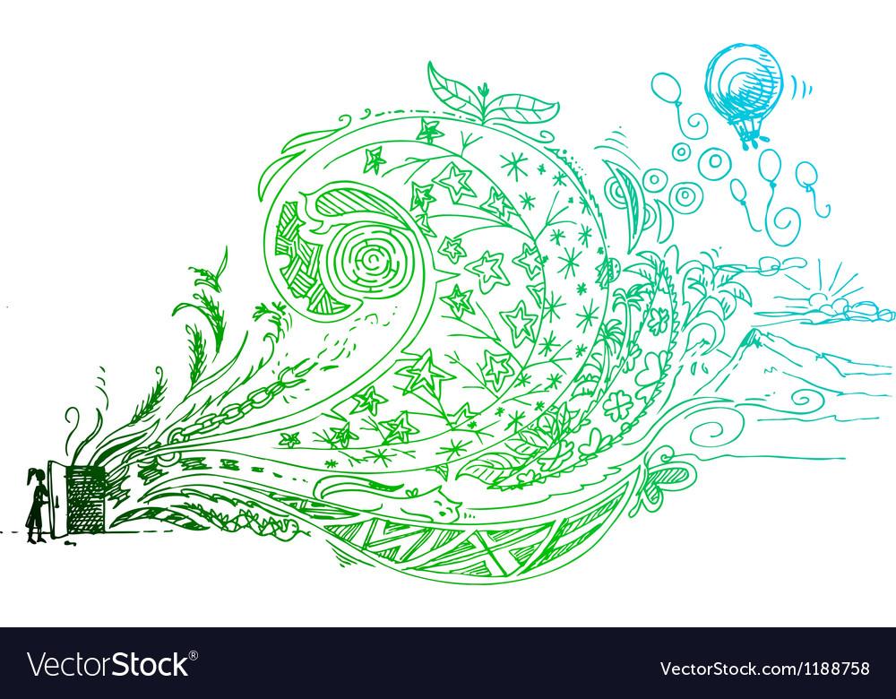 Open door sketched doodle vector | Price: 1 Credit (USD $1)