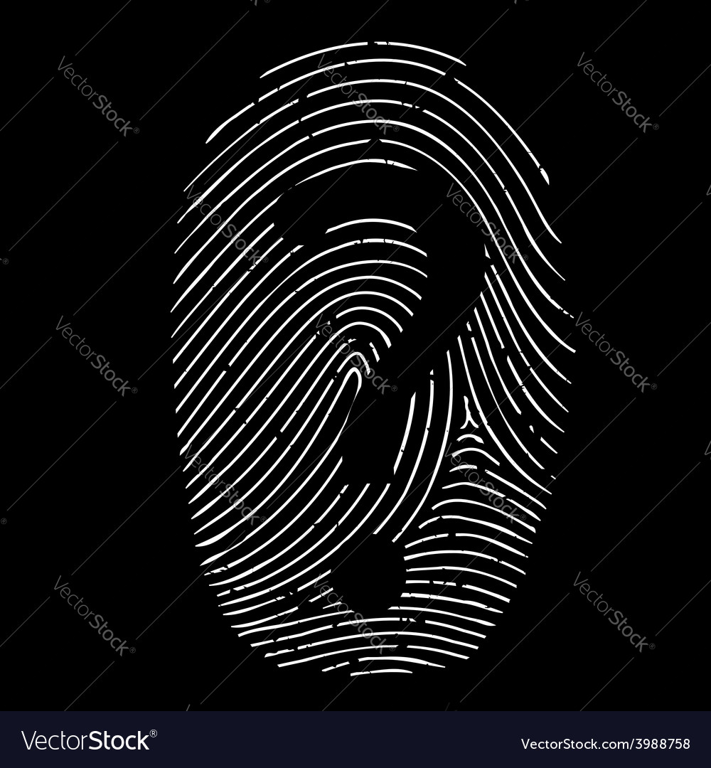 Question mark on a fingerprint vector | Price: 1 Credit (USD $1)