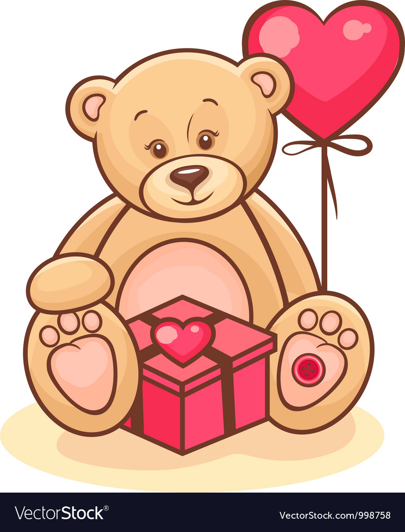 Teddy and gift vector | Price: 3 Credit (USD $3)