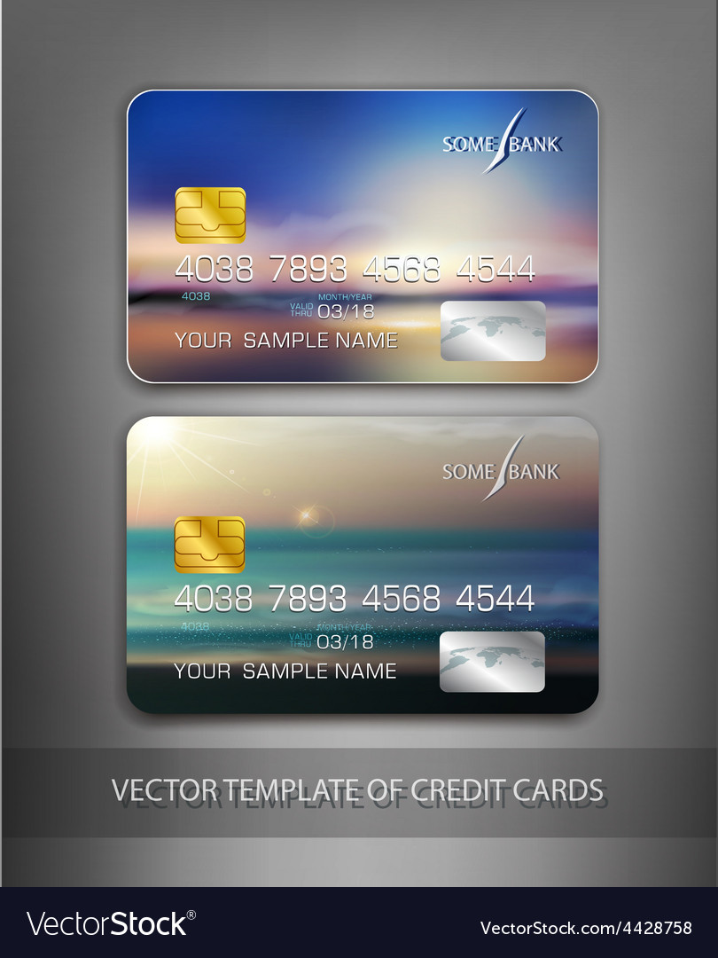 Template credit cards with seascape vector | Price: 1 Credit (USD $1)