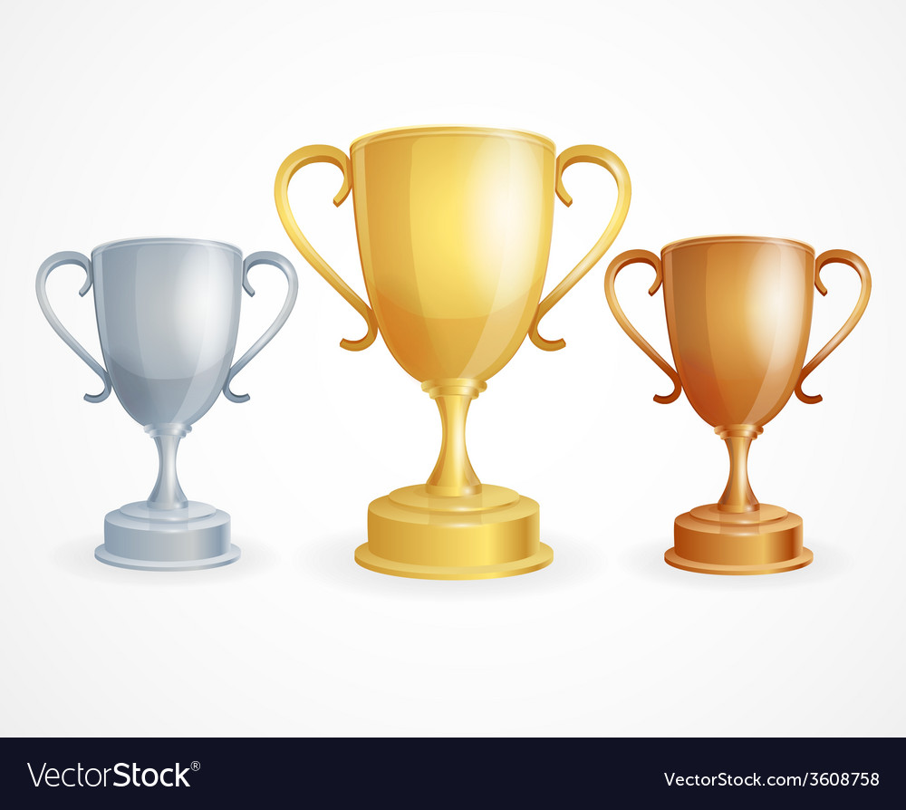 Three trophies gold silver and bronze vector | Price: 1 Credit (USD $1)