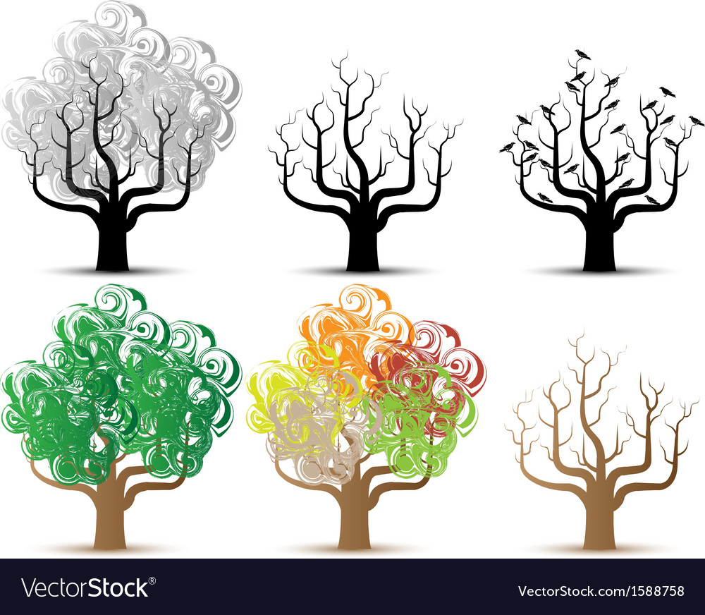 Tree helloween and season series vector | Price: 1 Credit (USD $1)