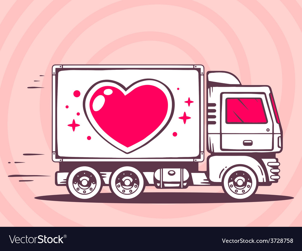 Truck with heart free and fast delivering vector | Price: 1 Credit (USD $1)