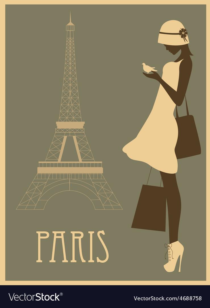 Woman in paris vector | Price: 1 Credit (USD $1)