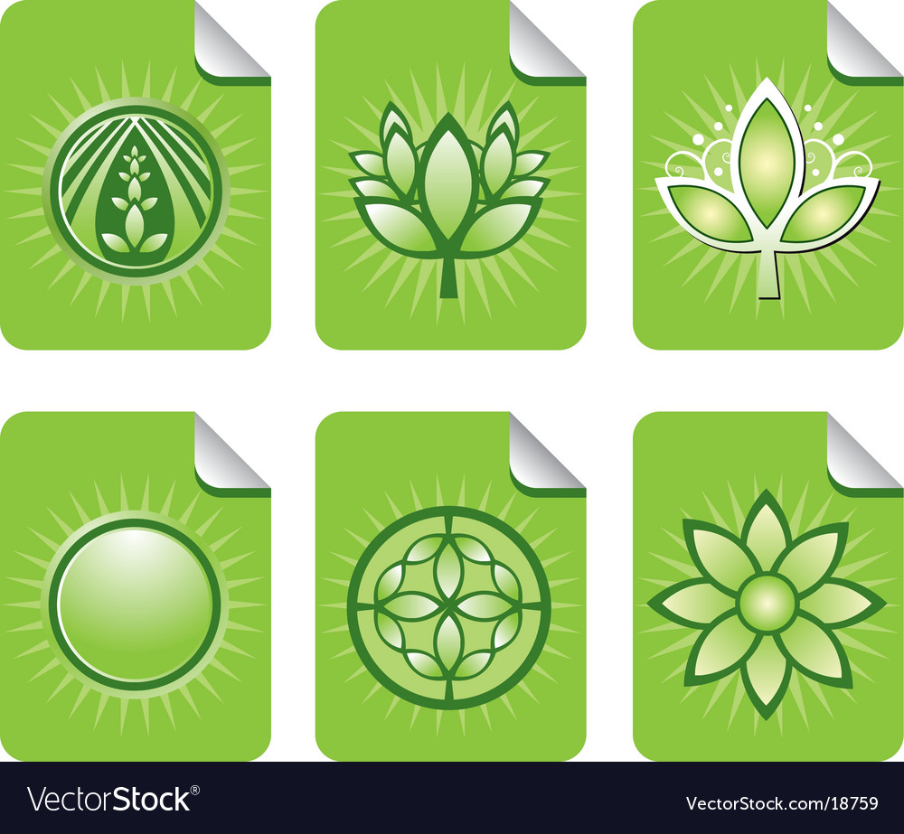 Assorted green leaf sticky notes vector | Price: 1 Credit (USD $1)