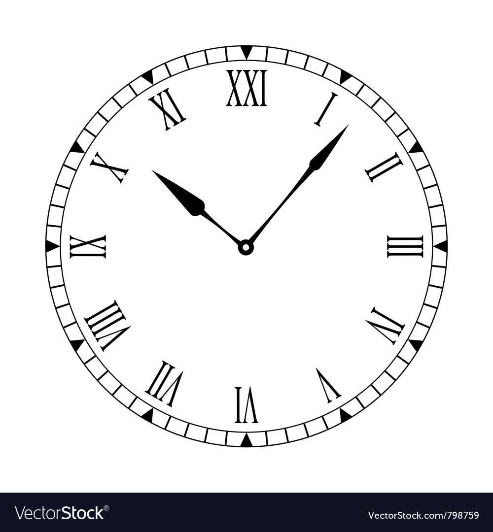 Black and white clock face vector | Price: 1 Credit (USD $1)