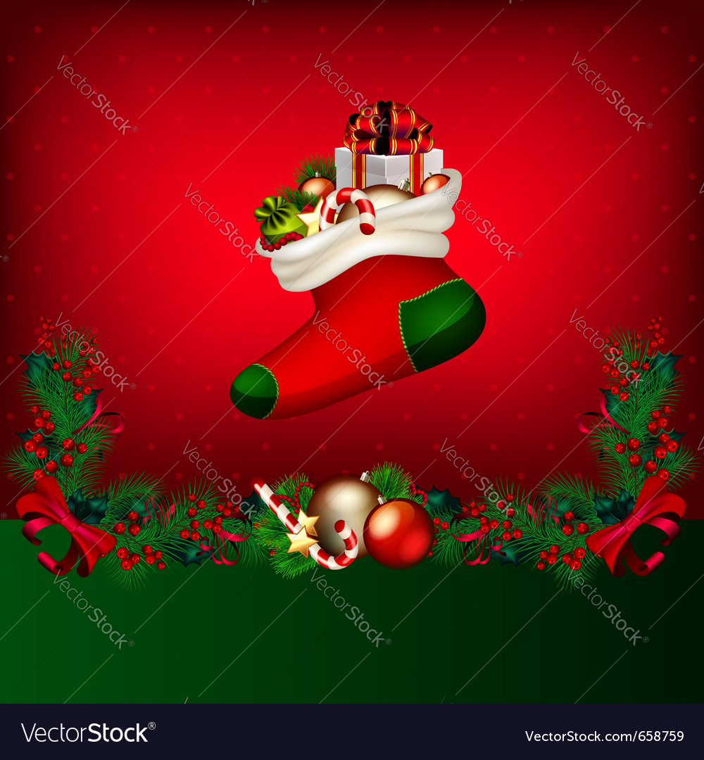 Bright christmas background with garland from fir- vector | Price: 1 Credit (USD $1)