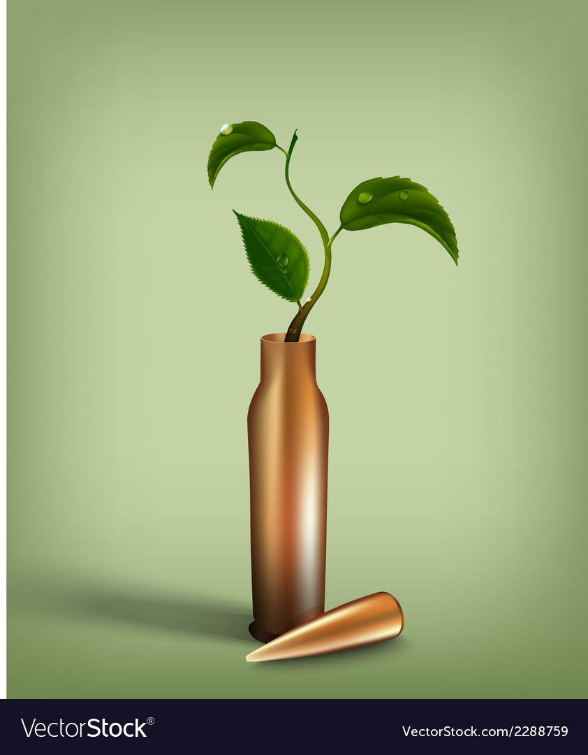 Bullet with green sprout inside vector | Price: 1 Credit (USD $1)