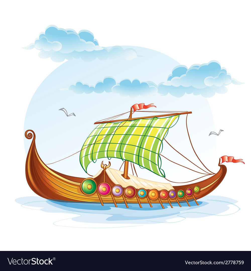 Cartoon image of the viking merchant ships svi vector | Price: 1 Credit (USD $1)