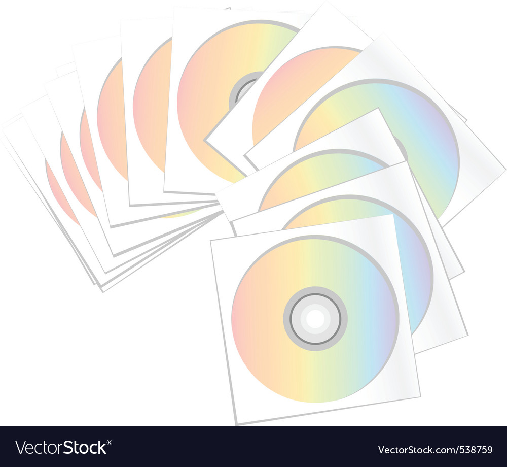 Compact disc archive isolated on the white vector | Price: 1 Credit (USD $1)