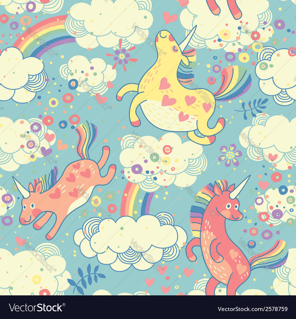 Cute seamless pattern with rainbow unicorns vector | Price: 1 Credit (USD $1)