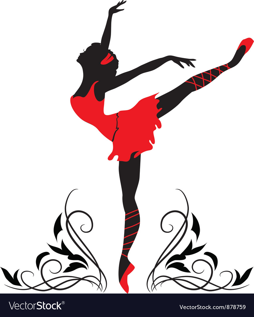 Dancing woman silhouette vector | Price: 1 Credit (USD $1)