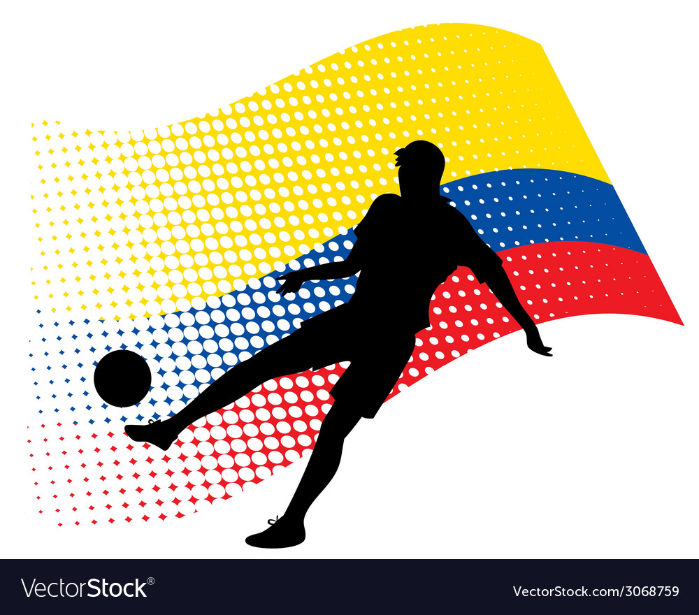Ecuador soccer player against national flag vector | Price: 1 Credit (USD $1)