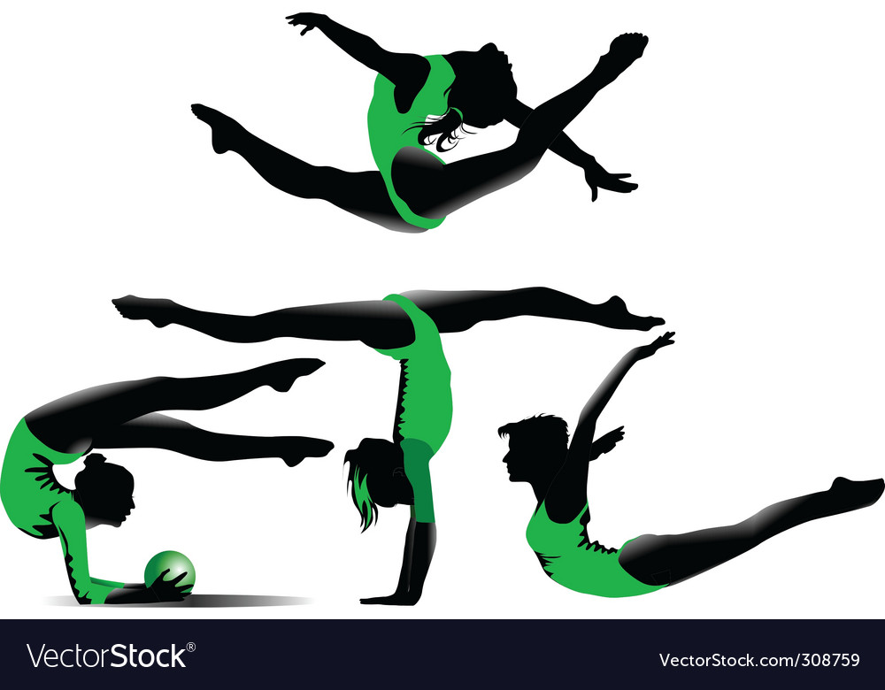 Four gymnasts vector | Price: 1 Credit (USD $1)
