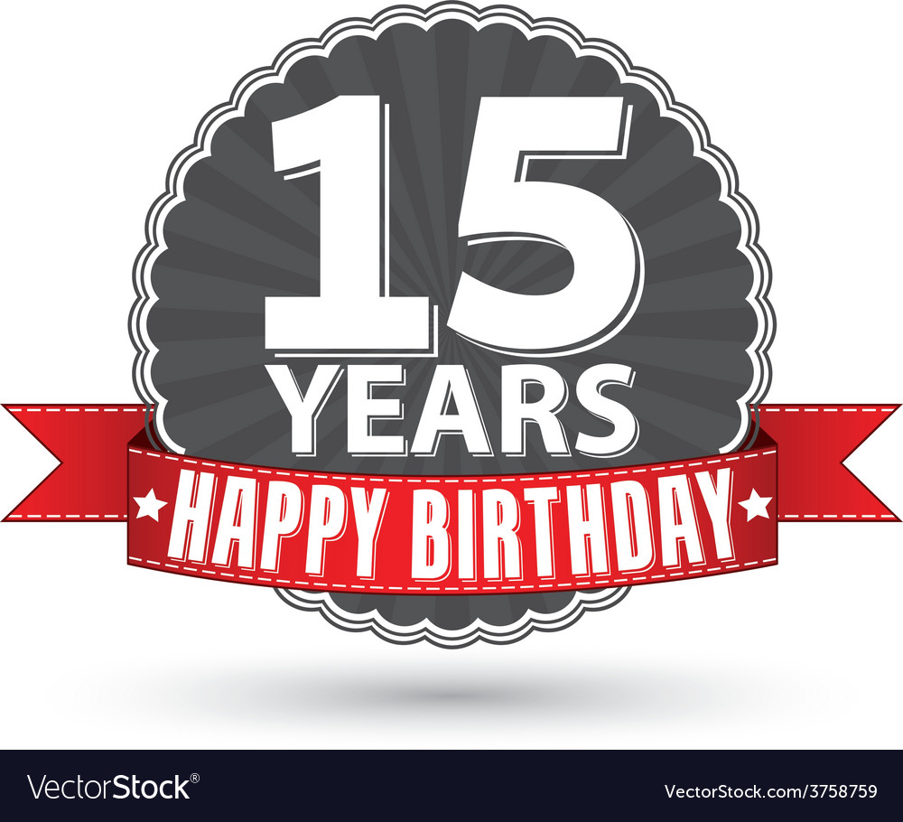 Happy birthday 15 years retro label with red vector | Price: 1 Credit (USD $1)