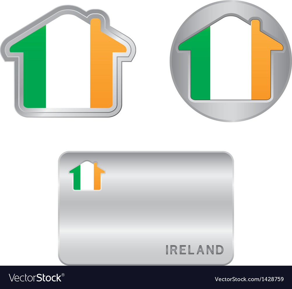 Home icon on the ireland flag vector | Price: 1 Credit (USD $1)