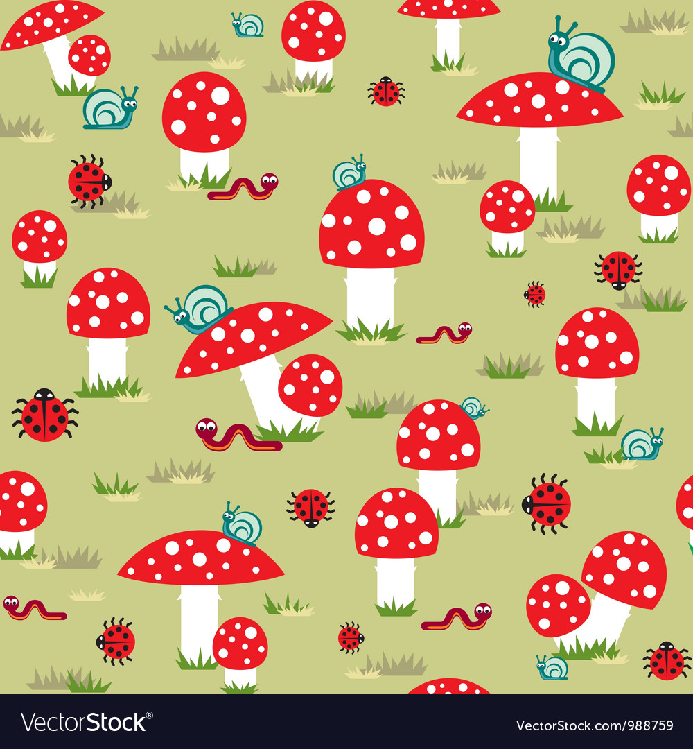 Mushroom background vector | Price: 1 Credit (USD $1)