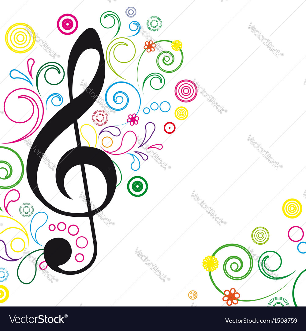 Music floral background vector   Price: 1 Credit (USD $1)