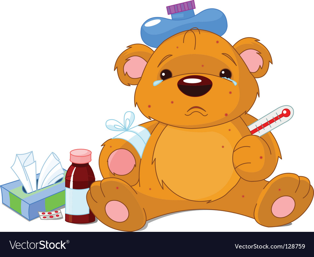 Sick teddy bear vector