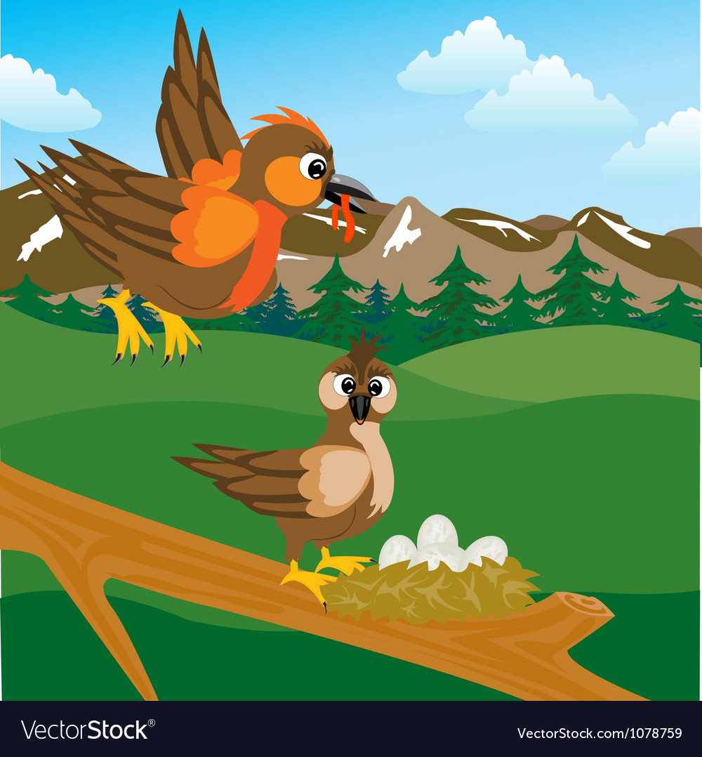 Sparrow on jack with egg vector | Price: 1 Credit (USD $1)