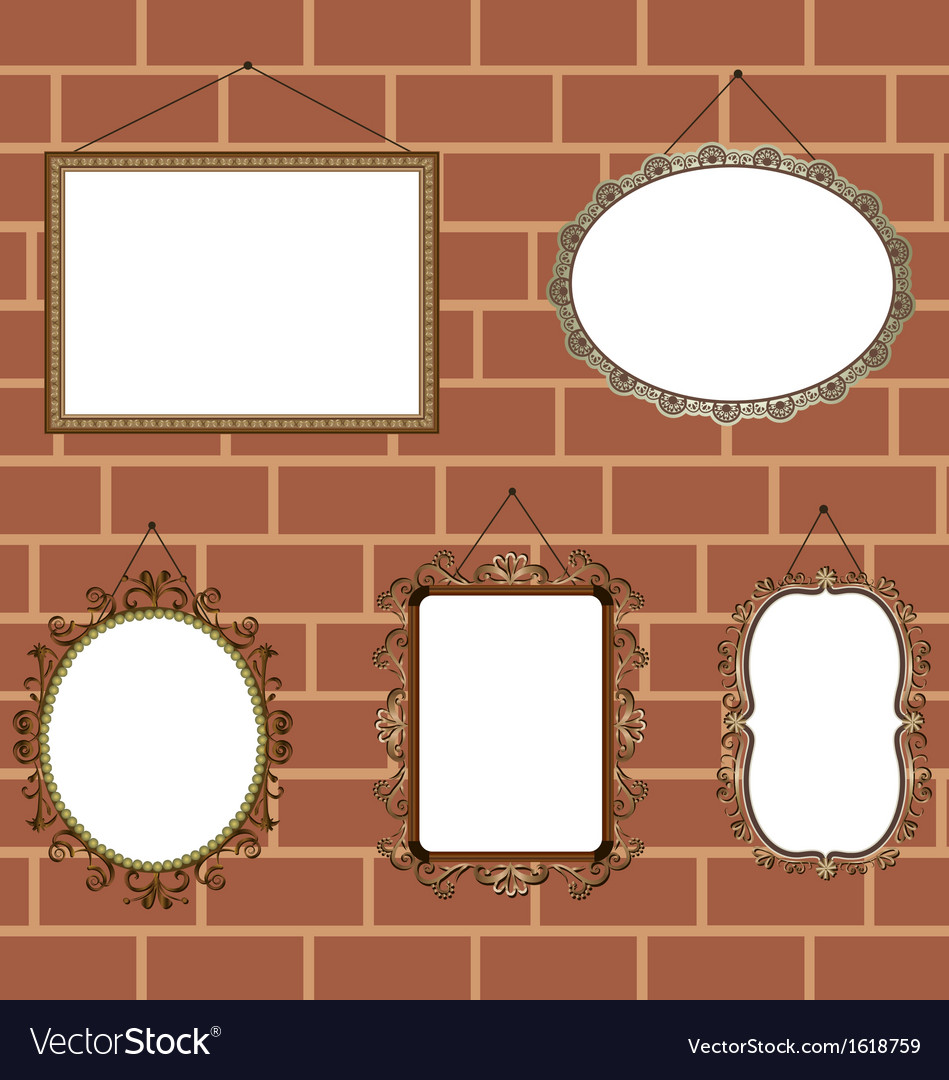 Vintage picture frames set vector | Price: 1 Credit (USD $1)