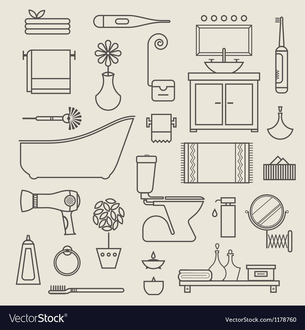 Bathroom icons vector | Price: 1 Credit (USD $1)
