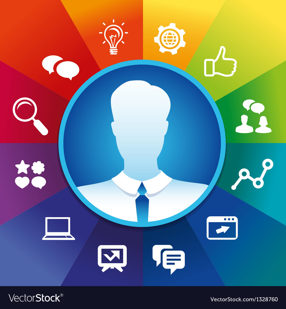 Businessman and social media icoons vector | Price: 1 Credit (USD $1)