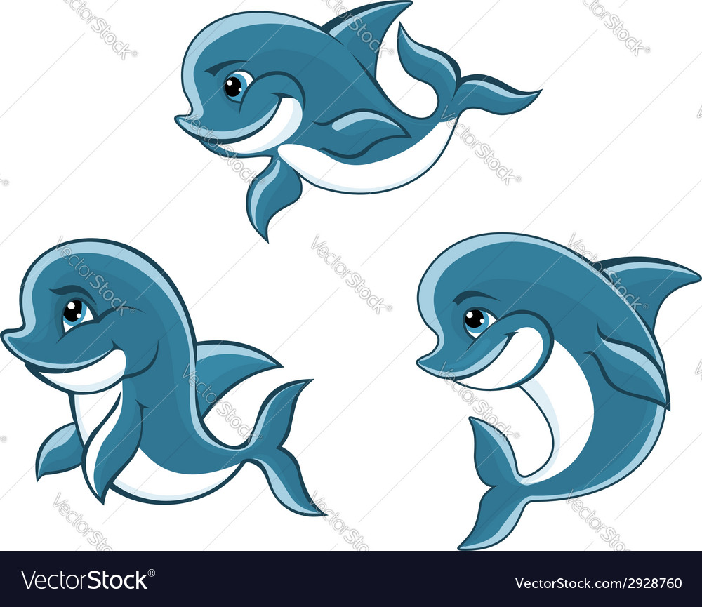 Cartoon little blue dolphins vector | Price: 1 Credit (USD $1)