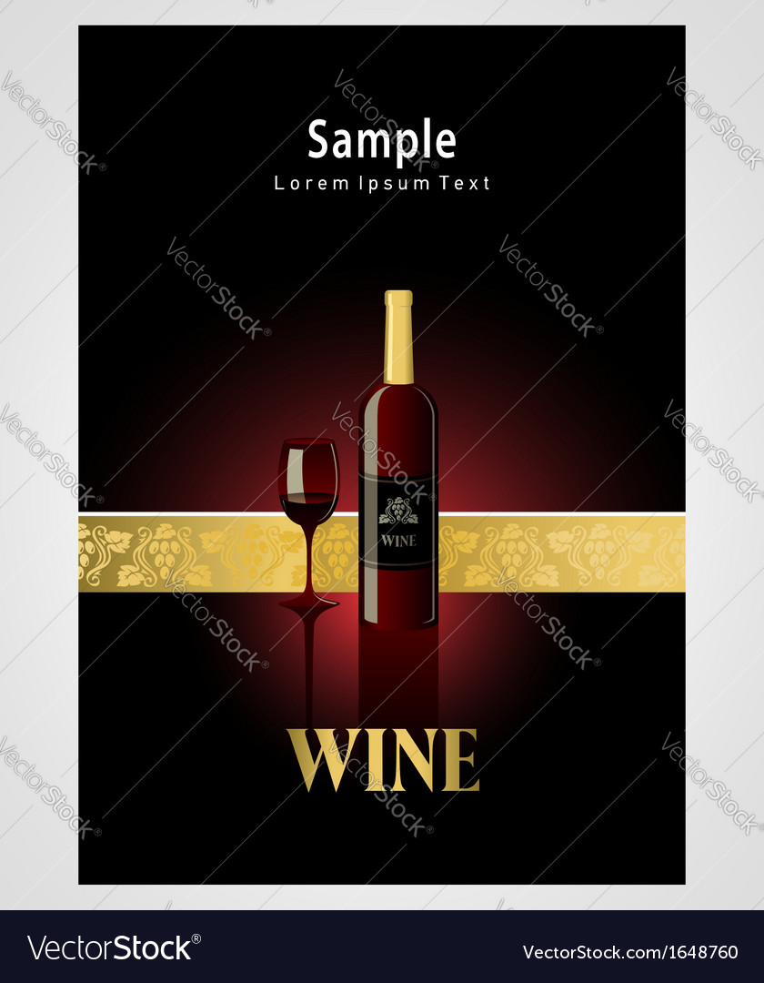 Cover poster face wine red vine grape ornament vector | Price: 1 Credit (USD $1)